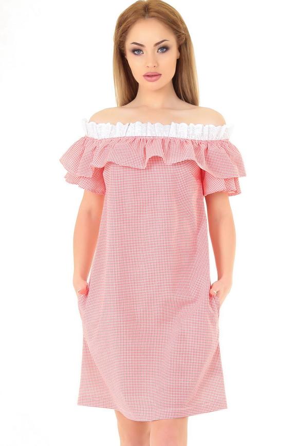 Повседневное платье трапеция красного с белым цвета 2563-1.24|интернет-магазин vvlen.com
