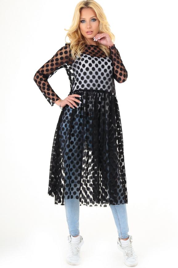 Клубное платье с пышной юбкой черного гороха цвета 2094-5.10 интернет-магазин vvlen.com
