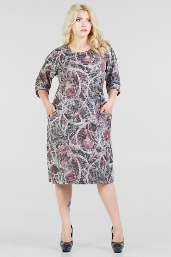 Платье футляр серого с розовым цвета |интернет-магазин vvlen.com