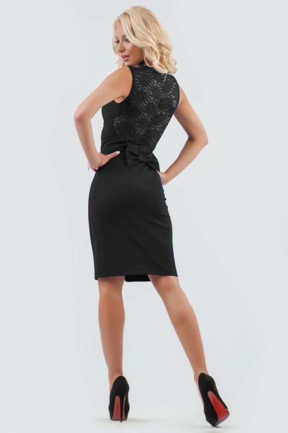 Коктейльное платье футляр черного цвета 1819-1.47|интернет-магазин vvlen.com