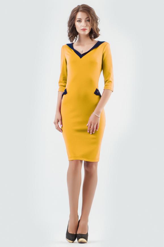 Офисное платье футляр горчичного цвета 1846-1.47 интернет-магазин vvlen.com