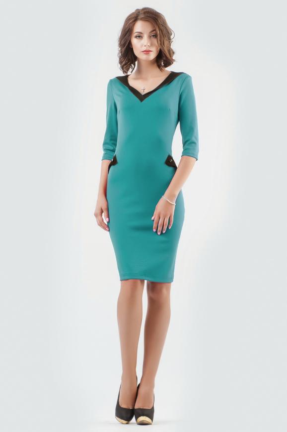 Офисное платье футляр морской волны цвета 1846-1.47|интернет-магазин vvlen.com