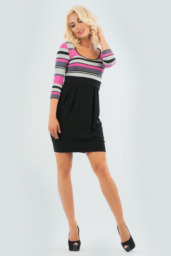 Повседневное платье с расклешённой юбкой черного с розовым цвета|интернет-магазин vvlen.com