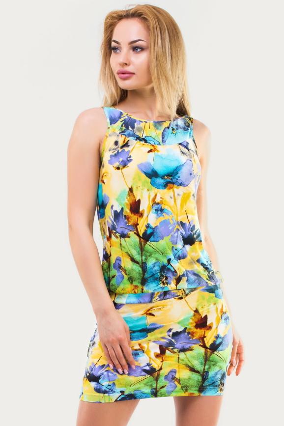 Летнее платье футляр желтого с фиолетовым цвета .1338.33|интернет-магазин vvlen.com