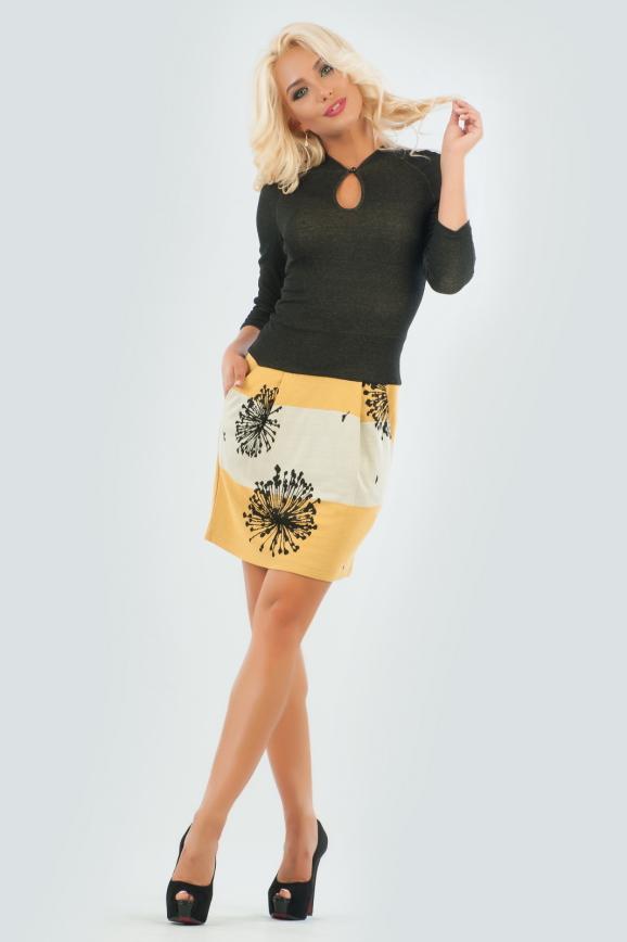 Повседневное платье футляр коричнево-желтого тона цвета интернет-магазин vvlen.com