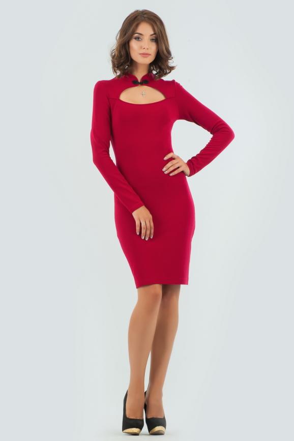 Офисное платье футляр вишневого цвета интернет-магазин vvlen.com