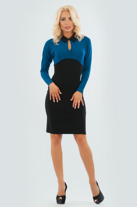 Офисное платье футляр черного цвета 1639.14 интернет-магазин vvlen.com