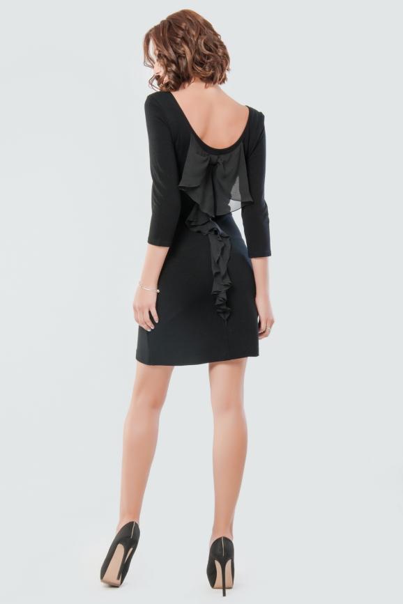 Коктейльное платье футляр черного цвета 1667.1|интернет-магазин vvlen.com