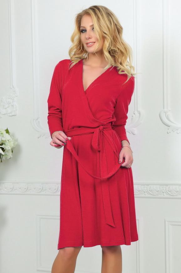Повседневное платье с расклешённой юбкой кораллового цвета 2476.65|интернет-магазин vvlen.com
