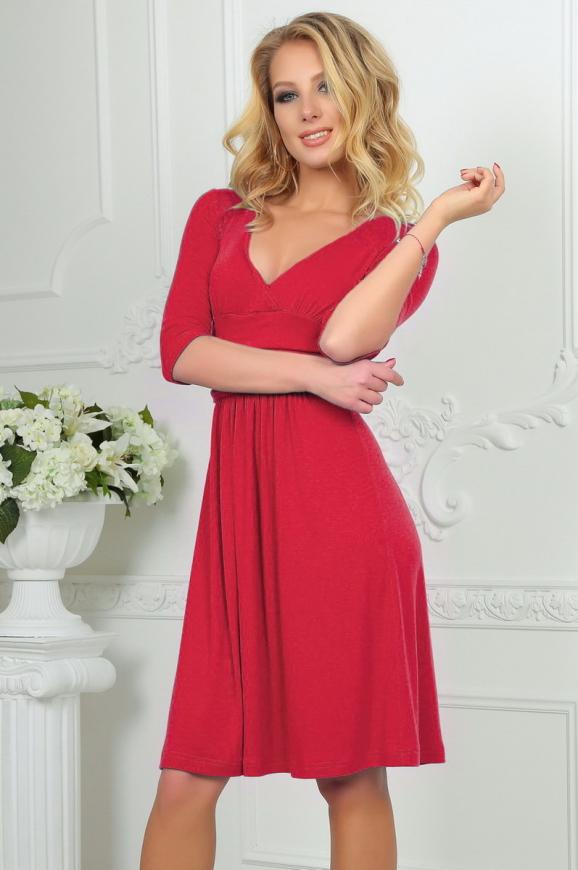 Повседневное платье с расклешённой юбкой кораллового цвета 2485.65|интернет-магазин vvlen.com
