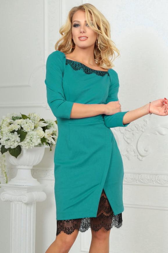 Коктейльное платье футляр мятного цвета 2479.47|интернет-магазин vvlen.com