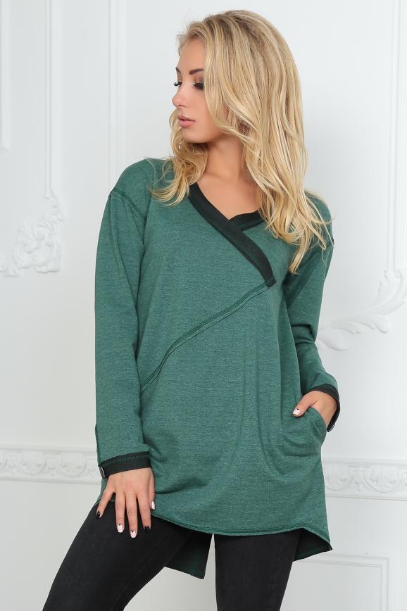 Туника асимметричная зеленого цвета 2600-1.79|интернет-магазин vvlen.com