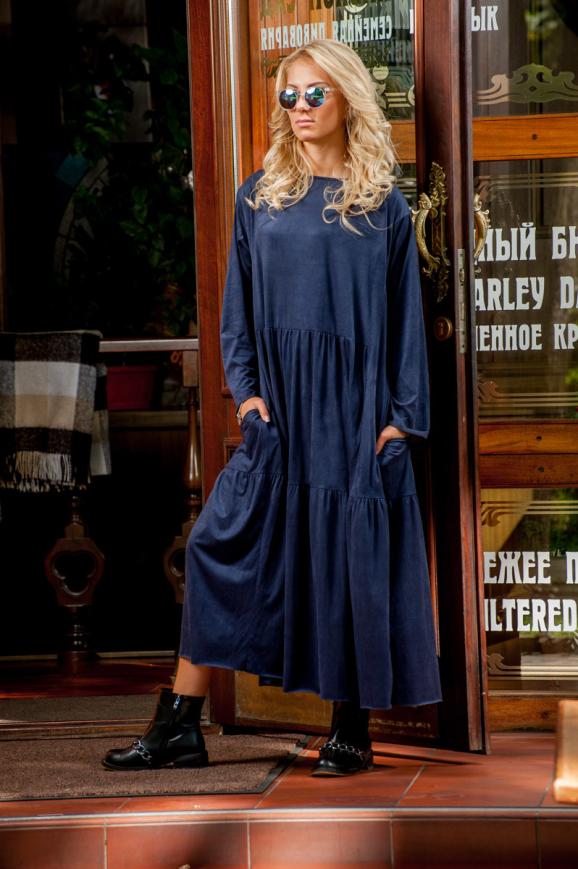 Платье оверсайз темно-синего цвета 2403.86|интернет-магазин vvlen.com