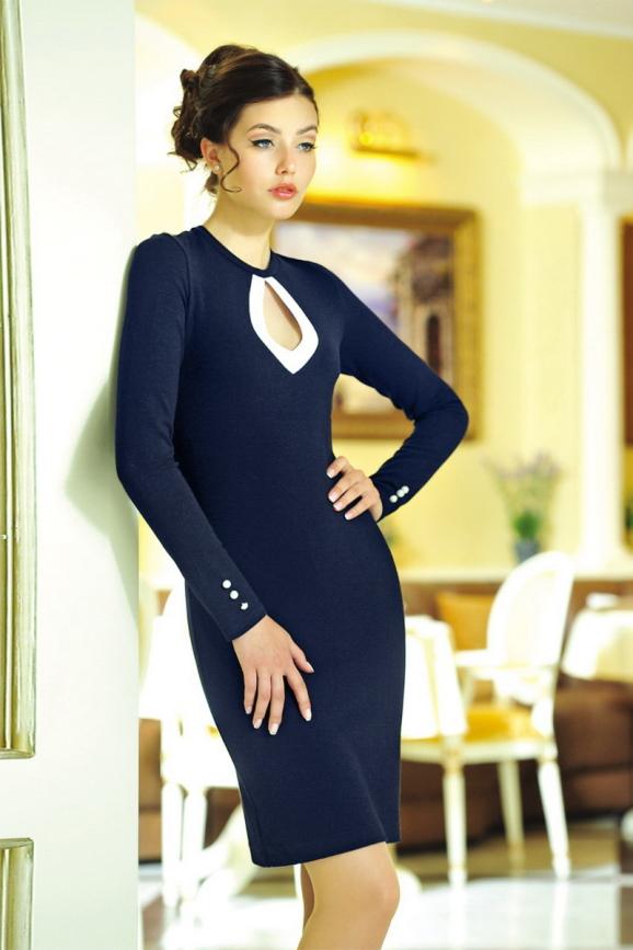 Офисное платье футляр синего в горох цвета 1607.1|интернет-магазин vvlen.com