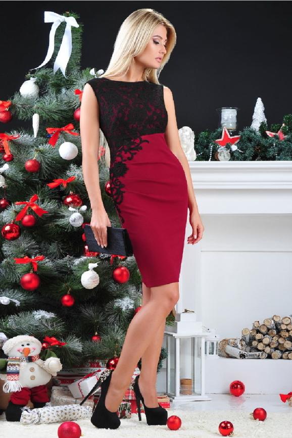 Коктейльное платье футляр бордового цвета 1946.1|интернет-магазин vvlen.com