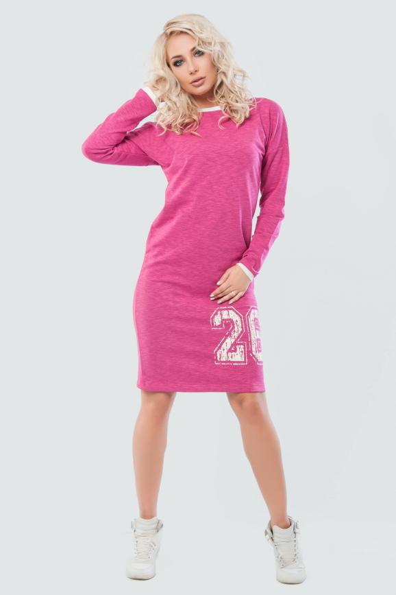 Спортивное платье  малинового цвета 042|интернет-магазин vvlen.com