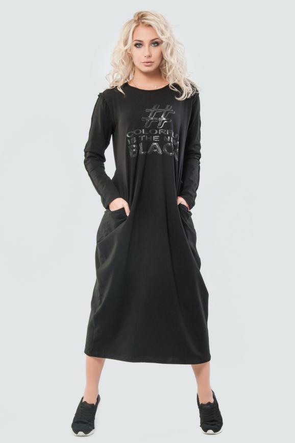 Платье  мешок  черного цвета 034|интернет-магазин vvlen.com