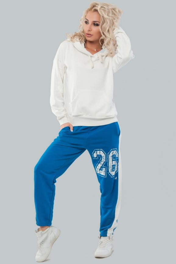 Домашний костюм молочного с синим цвета 041|интернет-магазин vvlen.com
