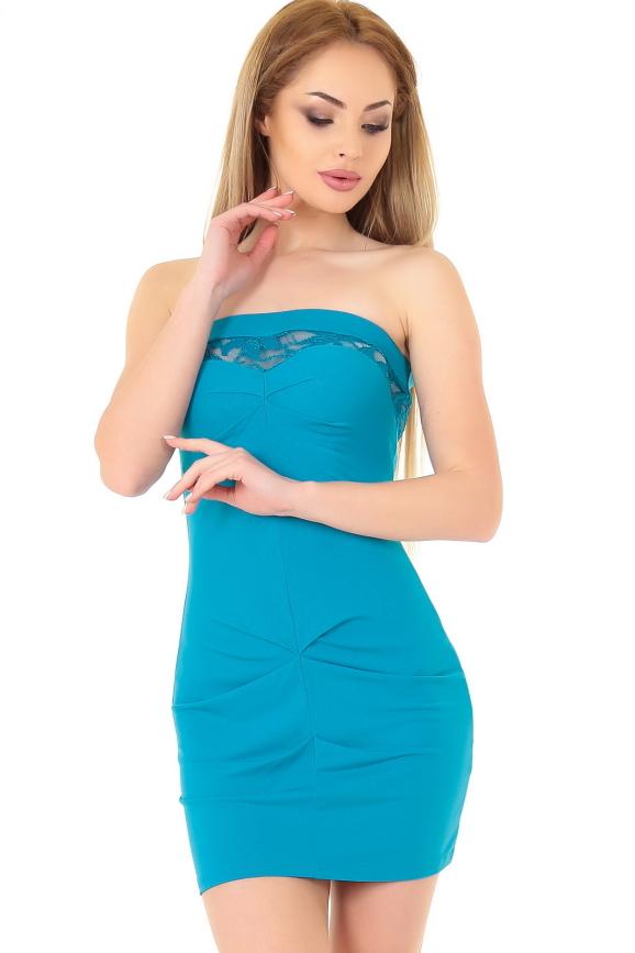Коктейльное платье с открытой спиной морской волны цвета 892.6|интернет-магазин vvlen.com