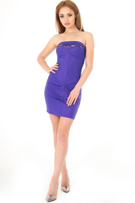 Коктейльное платье с открытой спиной фиолетового цвета|интернет-магазин vvlen.com
