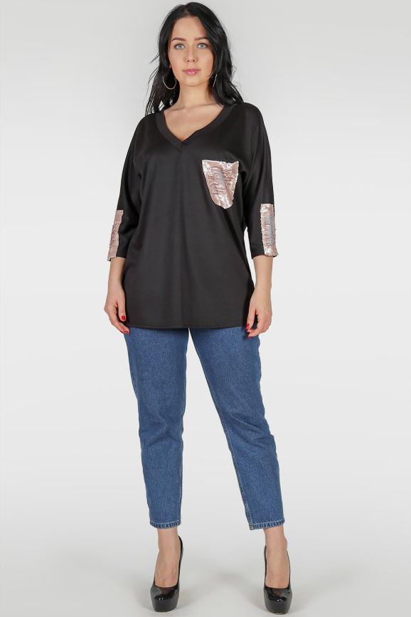 Туника асимметричная черного цвета 317|интернет-магазин vvlen.com