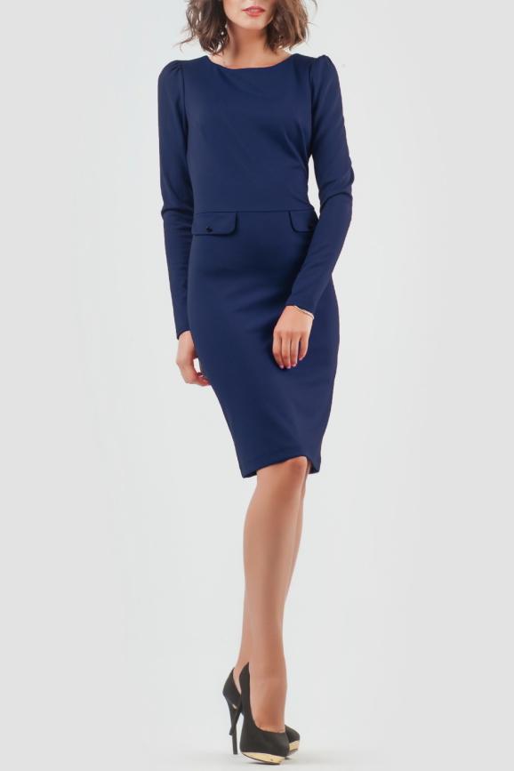 Офисное платье футляр темно-синего цвета 944-1.47|интернет-магазин vvlen.com