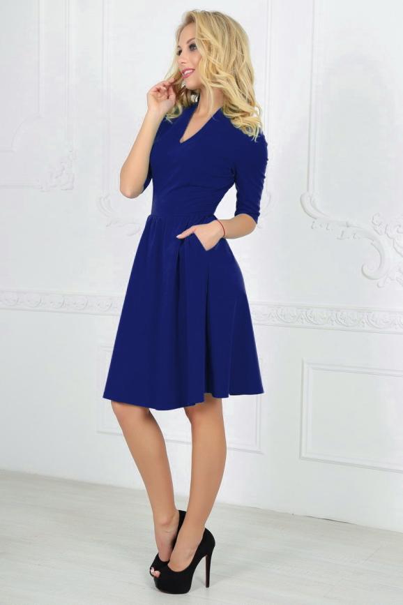 Повседневное платье с пышной юбкой электрика цвета 2507.47|интернет-магазин vvlen.com