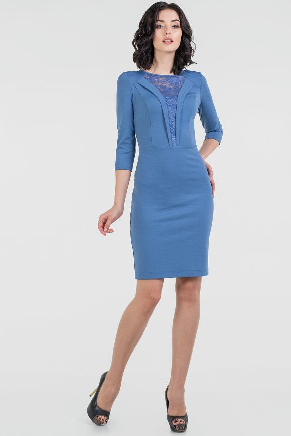 Офисное платье футляр джинса цвета 2517.47 интернет-магазин vvlen.com