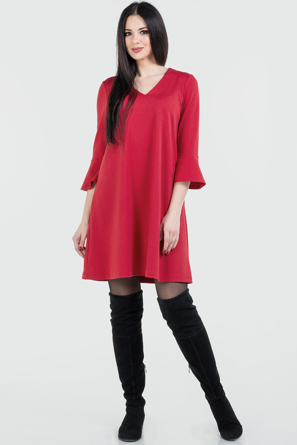 Повседневное платье трапеция красного цвета|интернет-магазин vvlen.com