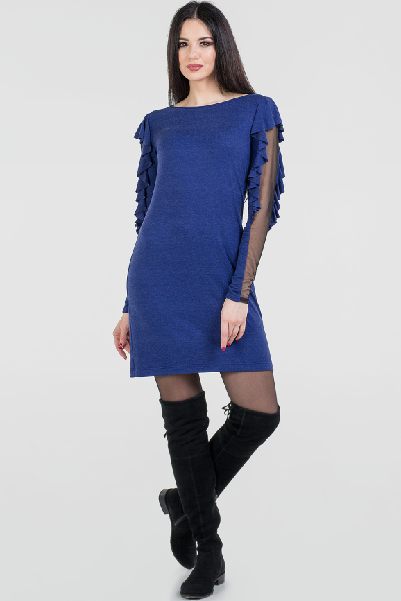 Повседневное платье футляр василькового цвета|интернет-магазин vvlen.com
