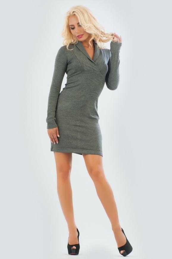 Повседневное платье футляр темно-серого цвета 1405.19|интернет-магазин vvlen.com