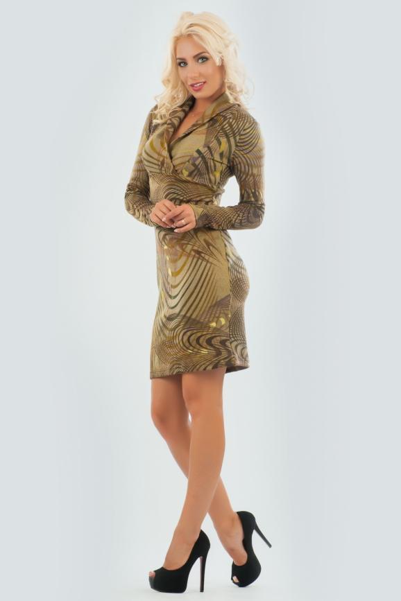 Повседневное платье футляр хаки цвета 1405.19|интернет-магазин vvlen.com