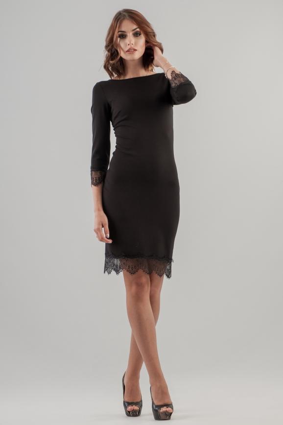 Коктейльное платье футляр черного цвета 2633.47|интернет-магазин vvlen.com