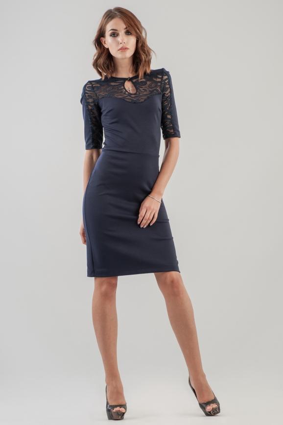 Коктейльное платье футляр темно-синего цвета|интернет-магазин vvlen.com