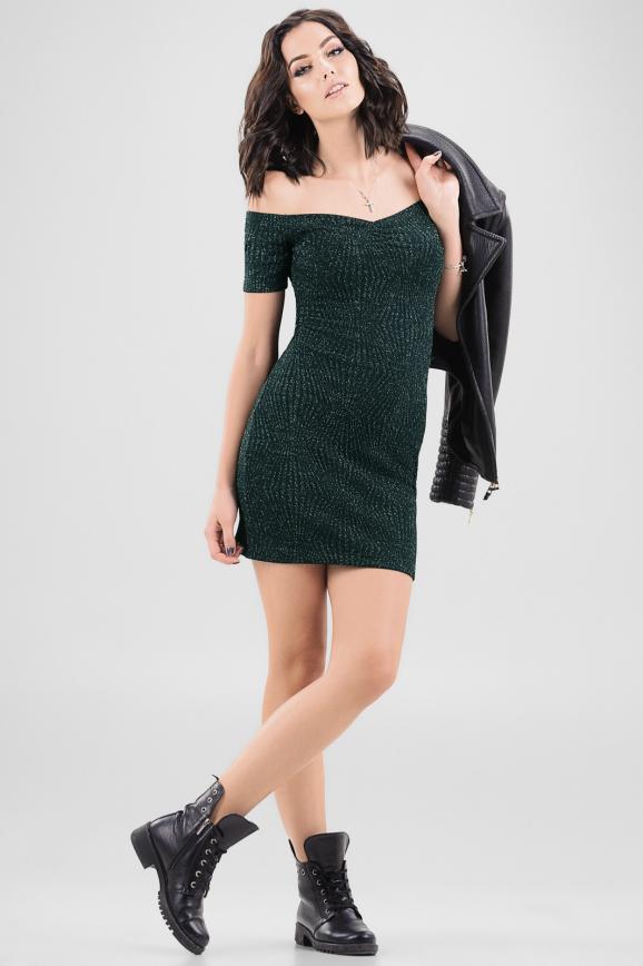 Повседневное платье с открытыми плечами темно-зеленого цвета|интернет-магазин vvlen.com