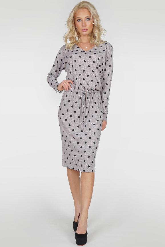 Повседневное платье  мешок серого с черным цвета|интернет-магазин vvlen.com