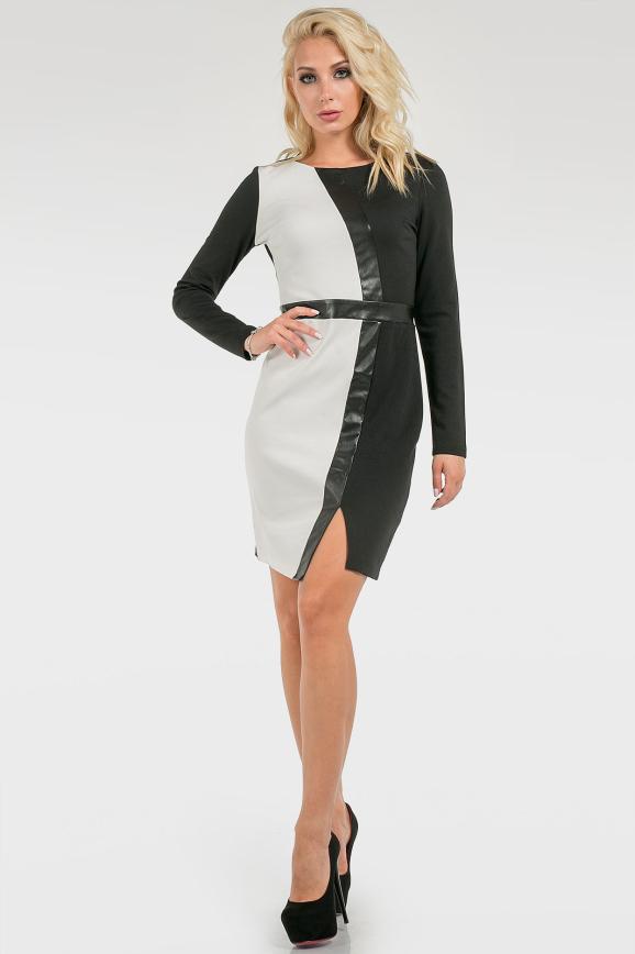 Контрастное ассиметричное платье|интернет-магазин vvlen.com