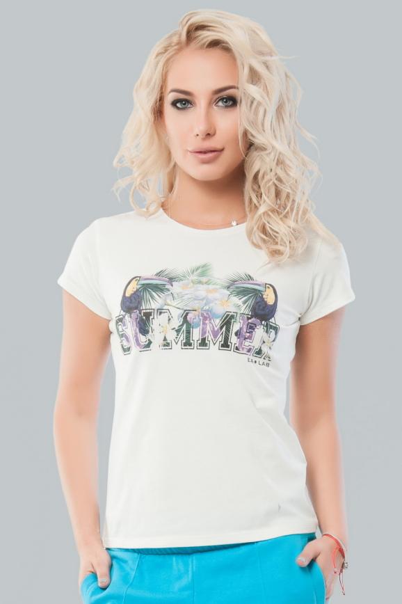 Женская футболка молочного цвета  020|интернет-магазин vvlen.com