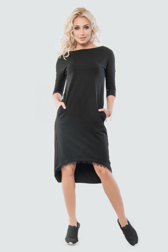 Платье балахон  черного цвета|интернет-магазин vvlen.com
