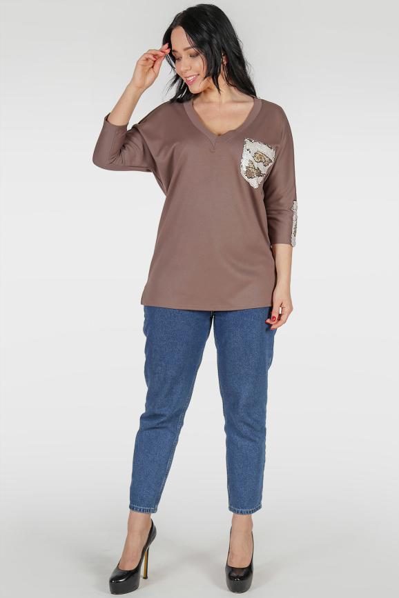 Туника асимметричная коричневого цвета|интернет-магазин vvlen.com