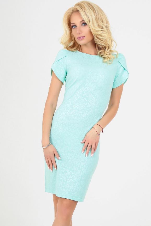Летнее платье футляр мятного цвета интернет-магазин vvlen.com
