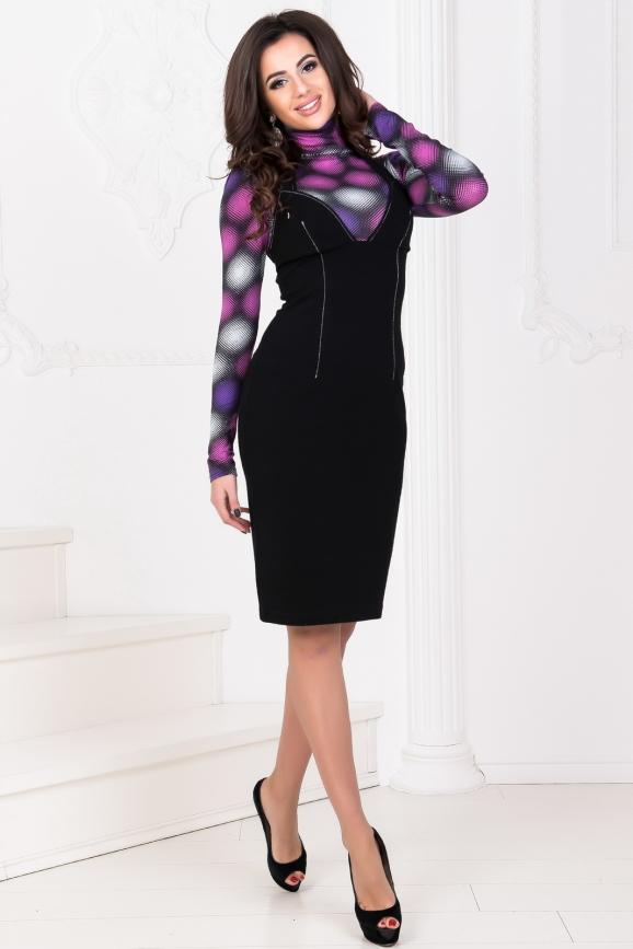 Повседневное платье гольф черного с сиреневым цвета|интернет-магазин vvlen.com