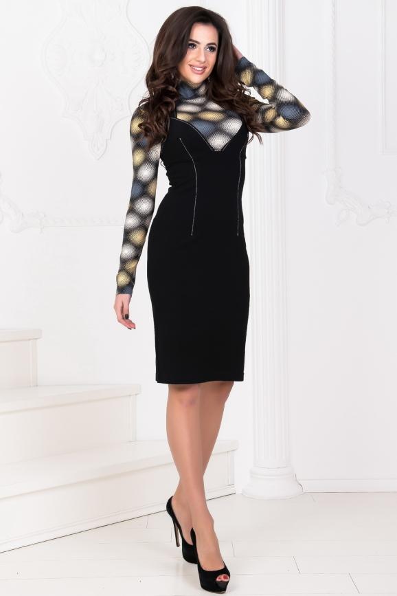 Повседневное платье гольф черного с желтым цвета 980.1|интернет-магазин vvlen.com