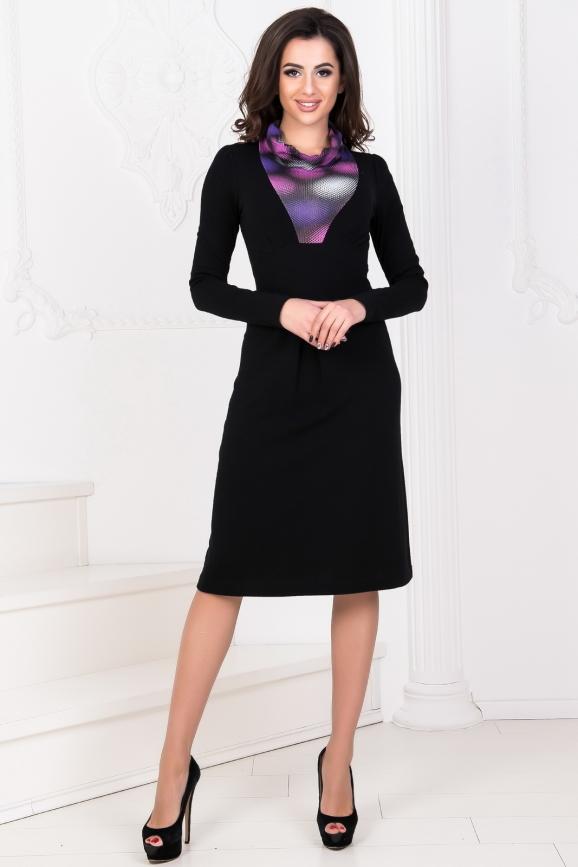 Повседневное платье с расклешённой юбкой черного с сиреневым цвета|интернет-магазин vvlen.com