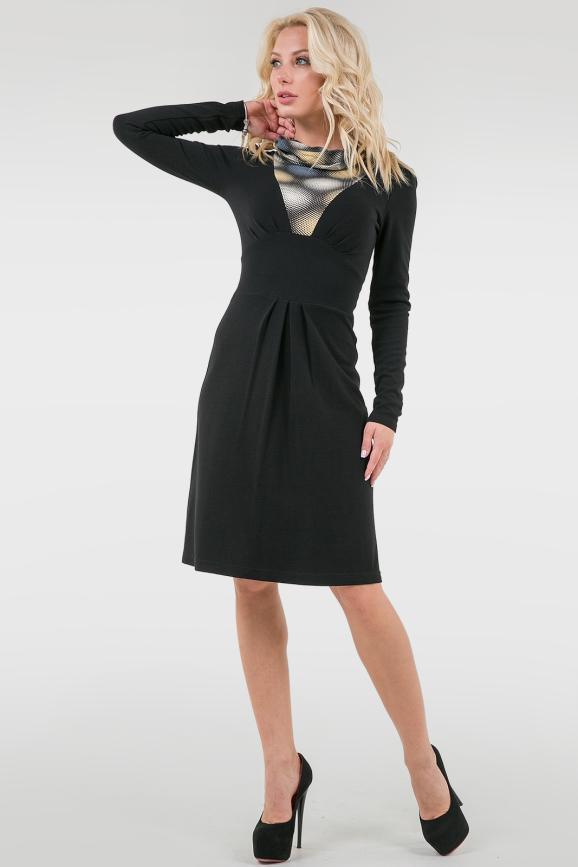 Повседневное платье с расклешённой юбкой черного с желтым цвета 988.1|интернет-магазин vvlen.com