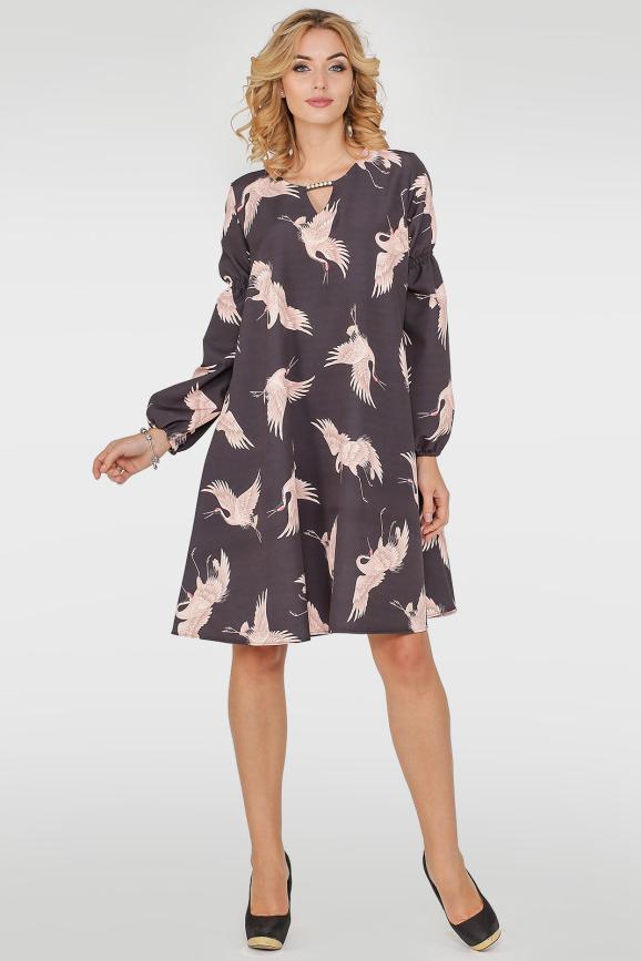 Платье трапеция черного цвета 405.27|интернет-магазин vvlen.com