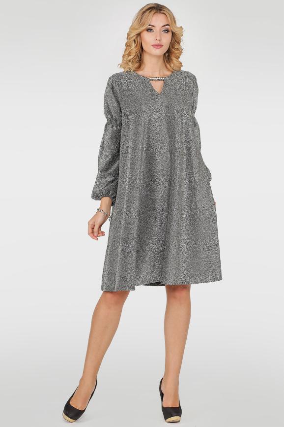 Платье трапеция серого цвета 407.98|интернет-магазин vvlen.com