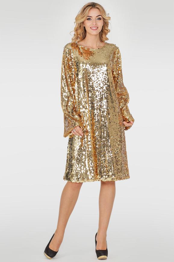 Коктейльное платье трапеция золотистого цвета|интернет-магазин vvlen.com