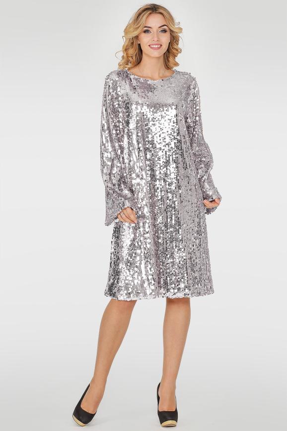 Коктейльное платье трапеция серебристого цвета 270.10|интернет-магазин vvlen.com