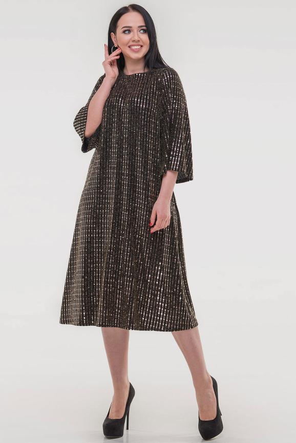 Платье трапеция золотистого цвета 2817.113|интернет-магазин vvlen.com